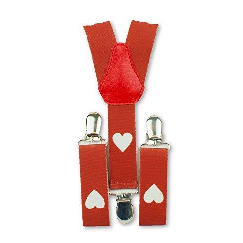 1buy3 Hosenträger rot-weisse Herzen| Y-Form | 3 Clips | 1-5 Jahre|verstellbar | über 30 Modelle