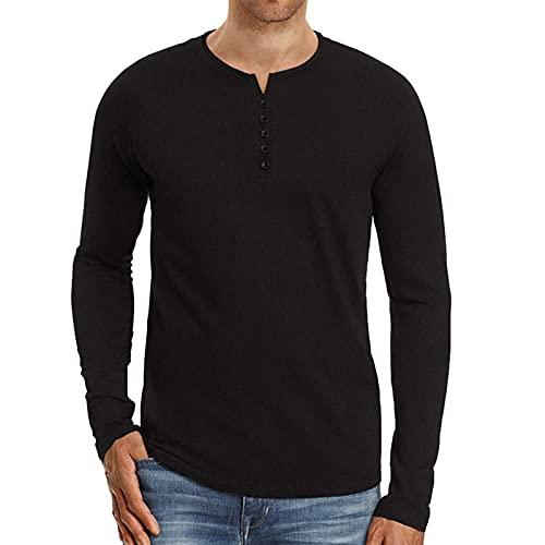 XDJSD Autunno E Inverno T-Shirt da Uomo Colletto a Maniche Lunghe T-Shirt Sportiva Camicia da Fondo da Uomo Casual Top Slim Henley Shirt