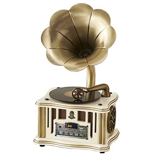 Gramófono Antiguo Adorno Retro Tocadiscos De Madera Maciza Europea Subwoofer De Radio Vintage Audio Bluetooth