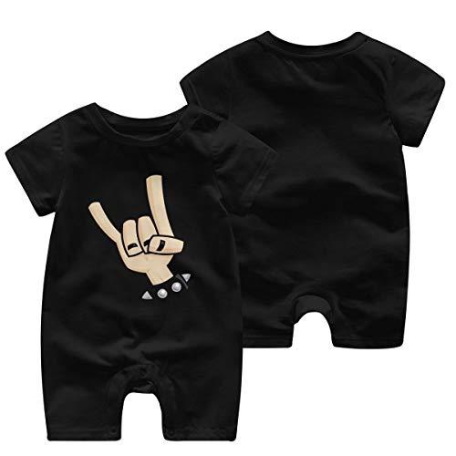 Heavy Metal Devil Horns Hand GILR Boys Kid Baby Romper Body de Manga Corta para bebés(12M,Negro)