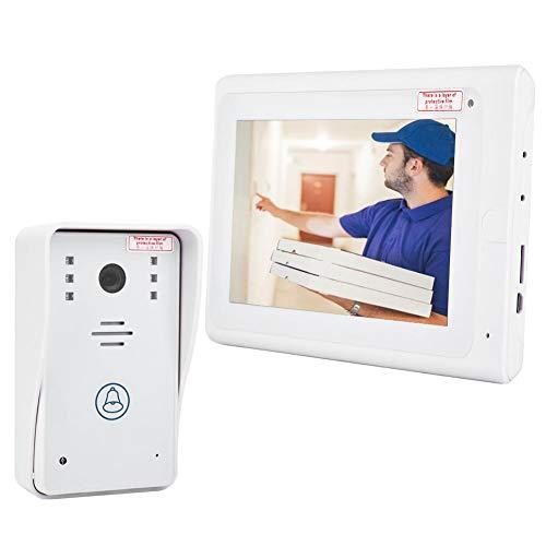 1000TVL de 7 Pulgadas Cable WiFi Timbre de la Puerta de Video, cámara de interfono de visión Nocturna, botón táctil, instantánea automática para la casa de 1 Familia(EU)