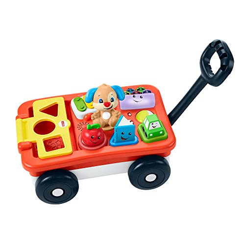Fisher-Price Laugh & Learn Pull & Play Learning Wagon - German Edition, interactive toy wagon with shape blocks and learning content for baby and toddlers