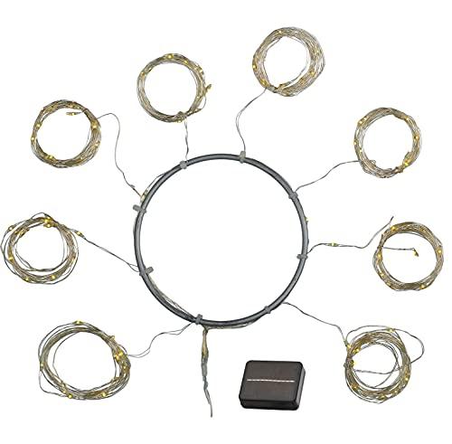 Sirius - Cadena de luces LED con pantalla solar, 128 ledes, luz blanca cálida, 8 x 2 m, color plateado