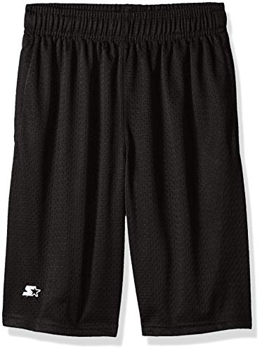 Starter Boys' Big Mesh Short with White Logo, Black, XS (4/5)