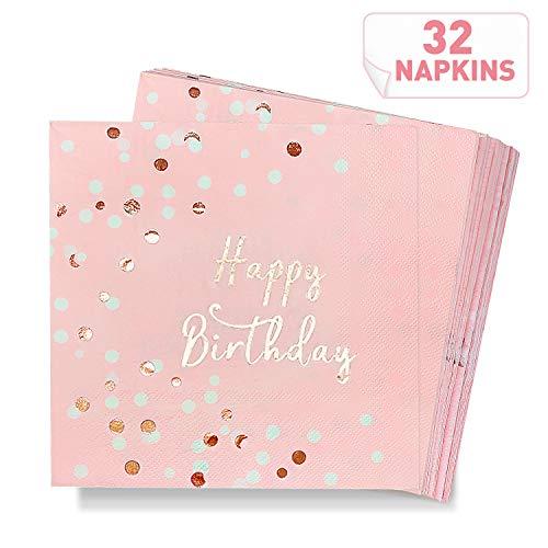 DYFFLE Servietten Geburtstag Rosegold - 32 Stück Happy Birthday Servietten Rosa für Party, Hochwertige Tischdeko Geburtstag Papierservietten Rosa Gold 33x33cm für Geburtstagsdeko Mädchen