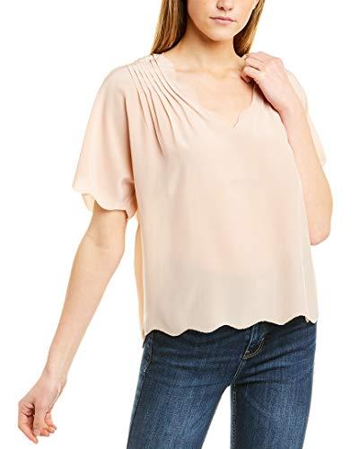 Joie Womens Binna Silk Pintuck Blouse Pink L