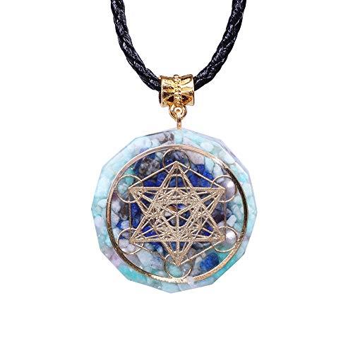NIUBKLAS Colgante de Cristal, joyería de Resina, Colgante Artesanal, recopilación de Riqueza, Collar de Mujer de Buena Suerte