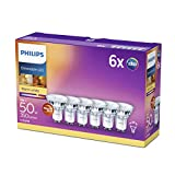 Philips Ampoule LED Spot GU10  50 W Pack de 6 chaud