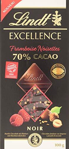 Lindt Excellence – Tableta de chocolate negro 70% cacao con frambuesa y avellanas, 100