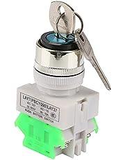 Sleutelschakelaar 3 posities veiligheid Key Lock Switch LAY37-20Y / 31 220V 5A draaiknop 22mm montagegat met 2 sleutels