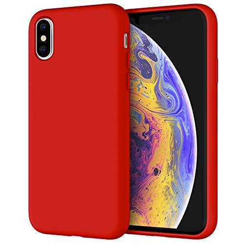 JETech Cover in Silicone Compatibile iPhone X/XS, 5,8 Pollici, Custodia Protettiva con Tutto Il Corpo Tocco Morbido setoso, Cover Antiurto con Fodera in Microfibra, Rosso
