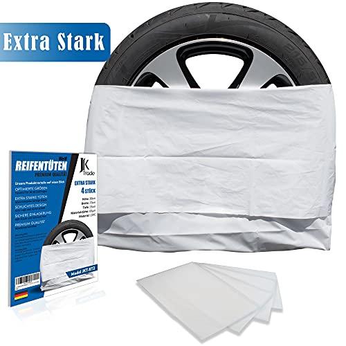 JK Trade® Set di 4 sacchetti per pneumatici extra forti, per riporre e riporre gli pneumatici dell'auto, per pneumatici da 16, 17, 18, 19, 20 pollici (bianco)