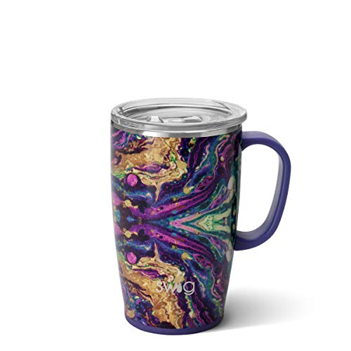 Swig Life 18oz Triple Insulated Travel Mug with Handle and Lid Dishwasher Safe Double Wall and Vacuum Sealed Stainless Steel Coffee Mug in Purple Reign Multiple Patterns Available