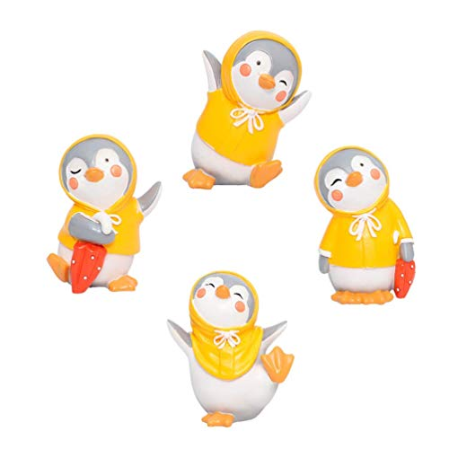 QULONG Adornos de jardín al Aire Libre 4 Piezas Colección de pingüinos Océano Ártico Animal Pingüino Figura Modelo Jardín de Hadas Figuras en Miniatura para Adornos de jardín Macetas Bonsai Artesan