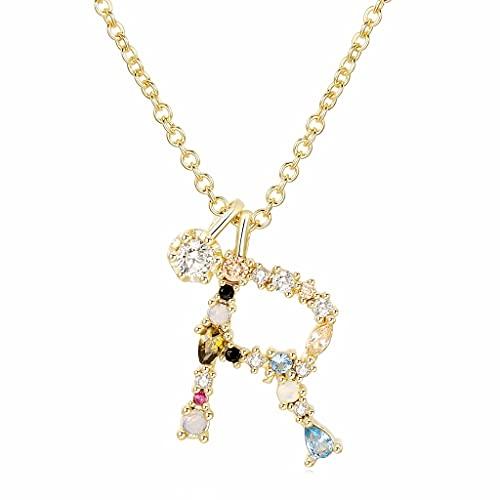 MIKUAU collarCollar Inital de Plata para Mujer, Chapado en Oro, Delicado, Colorido, con Diamantes de imitación, Collar con Letras, colección de Joyas de Cristal