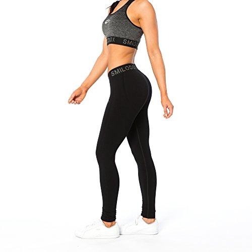 SMILODOX Sport Leggings Damen 'Precious' | Seamless - Figurformende Tight für Sport Fitness Gym Yoga Training | Sporthose - Workout Trainingshose - Tights Laufhose, Farbe:Schwarz, Größe:L