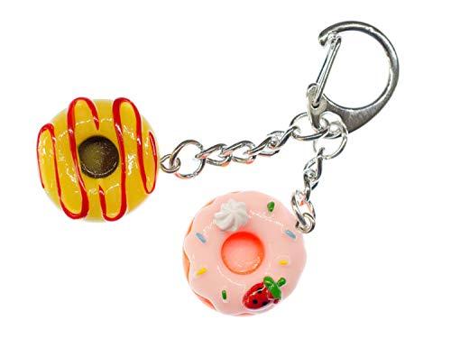 Miniblings Donuts Schlüsselanhänger - Handmade Modeschmuck I Donut Glasur Streusel Doughnuts Kuchen Süßigkeiten Fast Food USA bunt Mix 2er - Schlüsselring Anhänger