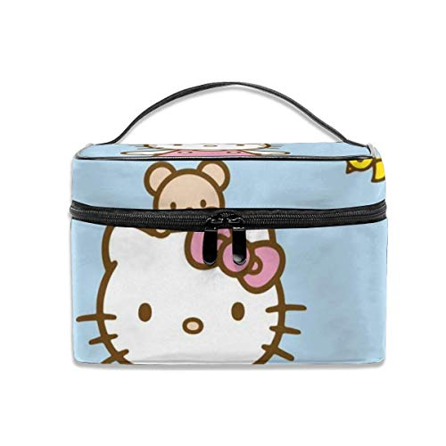 Almost-Okay-Shop Kosmetiktasche Hello Kitty Blue Sky Tragbare Reise-Make-up-Tasche Kosmetik-Organizer Multifunktions-Kulturbeutel Aufbewahrungskoffer