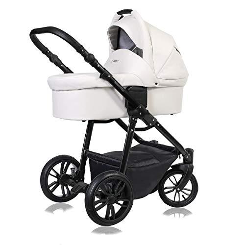Kinderwagen 3 in 1 Komplettset mit Autositz Isofix Babywanne Babyschale Buggy Smart-Plus Black by ChillyKids Arctic White 95 2in1 ohne Babyschale