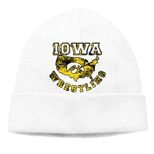 Iowa USA Wrestling Beanie Hat Classic Toboggan Hat Winter Hats Warm Hat Beanies for Men and Women White