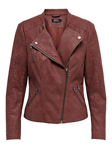 ONLY Damen Onlava Faux Leather Biker Otw Noos Kunstlederjacke, Fired Brick, 38 EU