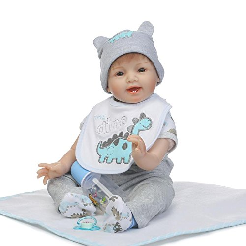 Nicery Reborn Baby Doll Réincarné bébé Poupée Doux Simulation Silicone Vinyle 22 Pouces 55cm Bouche Qui Semble Vivant Garçon Fille Jouet Vif réaliste Âge 3+ Boy Girl RD55C209