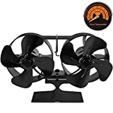 Double Motors Wood Stove 8 - Blade Small Size Fan, PYBBO Silent Heat Warm Air Powered Fireplace Eco Stove Fan for Gas/Pellet/Wood/Log Burning Stoves with Thermometer