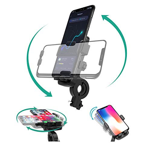 Motorcycle Bike Cell Phone Mount Holder for Handlebars,Universal 360° Rotatable Adjustable Detachable Silicone GPS Units Holder for iPhone 11 Pro Max/X/Xs Max/Xr/8/8 Plus,Samsung S20/S10/S10e