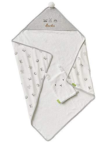 Vertbaudet - Juego de capa de baño y manopla de baño personalizable de algodón bio* Mini COMPAGNIE crudo/gris 100 x 100