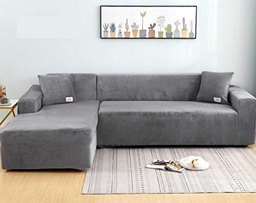 lxylllzs MöBelschutz Sofahusse Weich,Vier Jahreszeiten Universal-Sofabezug, Lazy Full Cover Sofabezug-235-300cm_Grey,Stretch SofabezüGe 2-Sitzer Stoff