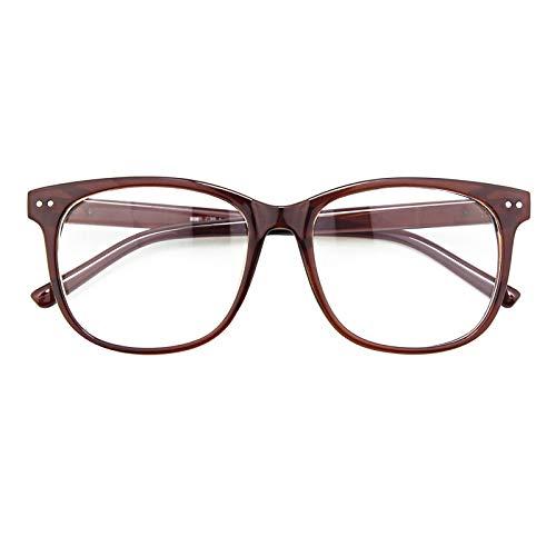 GQUEEN Hornbrille Brille Ohne Stärke Fake Brille Nerdbrille Damen Herren UV400 Braun,PE1