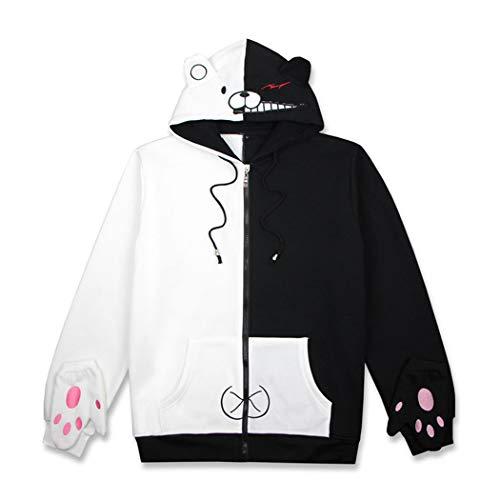FORLADY Unisex Danganronpa Monokuma Sweatshirts Schwarz Weiß Bär Hoodies Reißverschluss Jacke Uniform (Handschuhe)