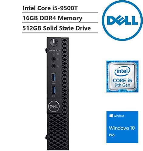KKE Upgrades Optiplex 3070 Micro (MFF) Desktop, Intel Core i5-9500T Processor up to 3.70 GHz, 16GB RAM, 512GB SSD, Winodws 10 Pro, Wireless LAN + Bluetooth, Black