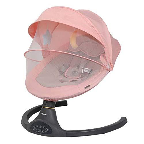 Columpio Bebe electrico, Silla balancín Inteligente con mosquitera, Sillas mecedoras con Control de 5 velocidades, 3 Temporizador,Hamaca babybjorn para recién Nacidos de 0 a 24 Meses,Pink