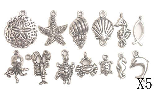 ChangJin 65PCS Antiqued Silver Metal Sea Animal Charms for Jewelry Making