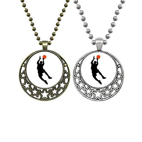 Halskette mit Anhänger für Sport- und Basketballspieler, körperliche Bildung, Retro, Mond, Sterne, Schmuck