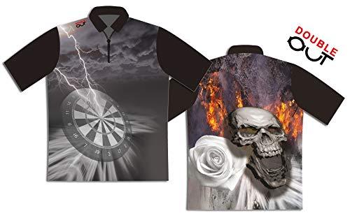 DOUBLE OUT Dart - Shirt Premium 21, Größe:M, Farbe:schwarz/Silber