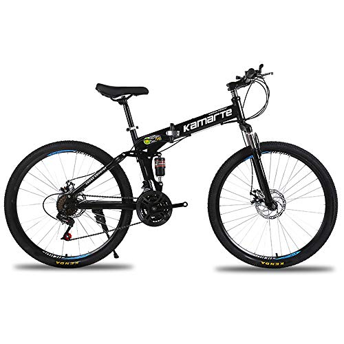 MoMi Folding Mountain Bike 20/24/26 inch high Carbon Steel 21/24/27 Speed disc Brake Shift Male and Female Bicycles,Black,20in/27speed