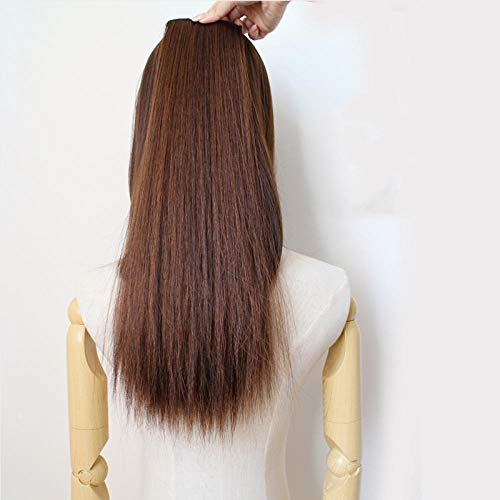 GWSJF Extension de cheveux raides 60cm - Light_Brown Fashion Haute Qualité Perruque pour Femme, Style Naturel Perruque Synthétique Résistant à la Chaleur