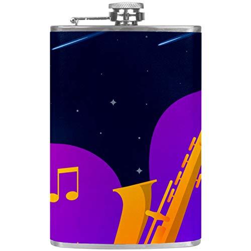 Bennigiry Matraz para hombre Estrellas espaciales flotando desde un saxofón dorado Petacas de bolsillo de acero inoxidable a prueba de fugas para licor