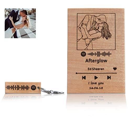 Spotify - Placa personalizada con diseño personal grabado en madera, base y caja de regalo con base de soporte, hecha a mano y acabado a mano (90 x 140 cm)