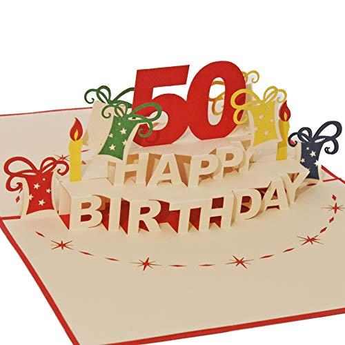 Favour Pop Up Glückwunschkarte zum runden 50. Geburtstag. Ein filigranes Kunstwerk, das sich beim Öffnen als Geburtstagstorte entfaltet. ALTA50R