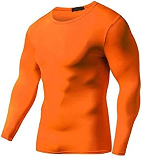BEESCLOVER Summer Autumn Male Running T-Shirt Tights Long Sleeve Tops & Tees Men Compression Shirt Fitness Quick Drying Sports t Shirt Orange S