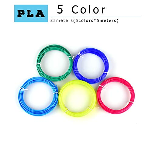 W-Shufang,3D 3D Printing Pen pla 1.75mm pla Filament Best Gift for Kids Perfect 3D Pen 3D pens Environmental Safety Plastic (Color : 5 m 5 Colors PLA)