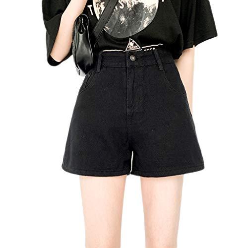 GCX Birnenförmige Figur mit Jeans-Shorts Weibliche Sommerloch Burrs mit hoher Taille koreanische Studenten lose und dünne Large Size Hot Pants Sexy (Color : Black, Size : M)