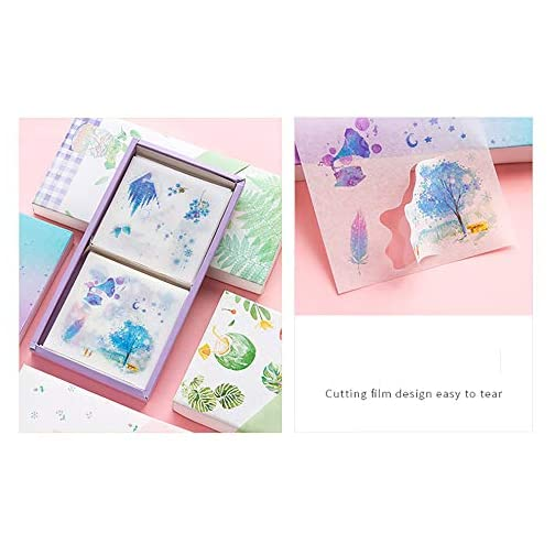 100Sheets Scrapbooking Stickers, Doraking 100 Sheets Cute Cartoon Sea Star Dream Theme Middle Size Washi Stickers for… |