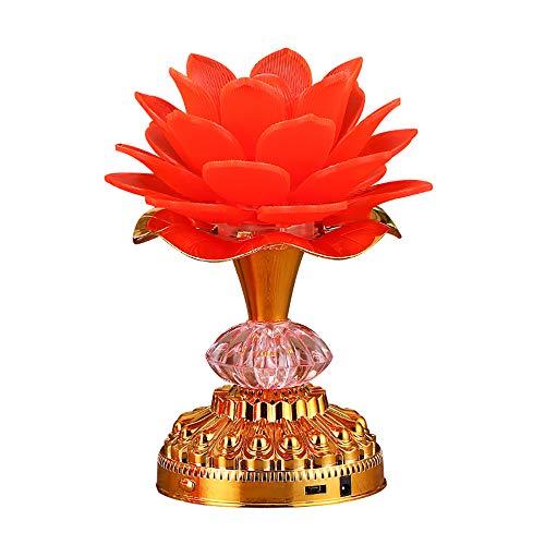 Omeet 7 Colorful LED Lotus Buddhist Lamp, Buddha Lotus Light, Buddhist Supplies - Red