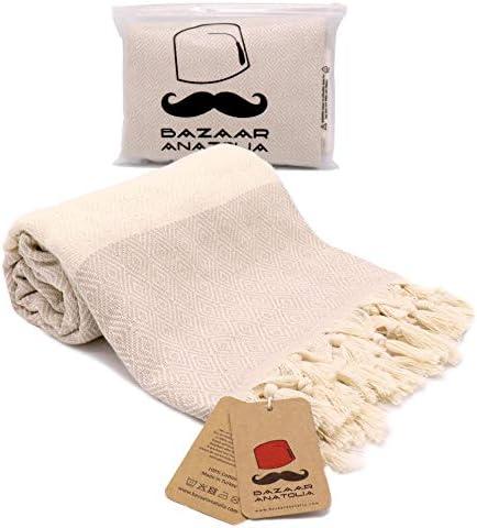 Bazaar Anatolia Diamond Turkish Towel 100 Cotton Peshtemal Bath Towel 77x38 Thin Lightweight product image