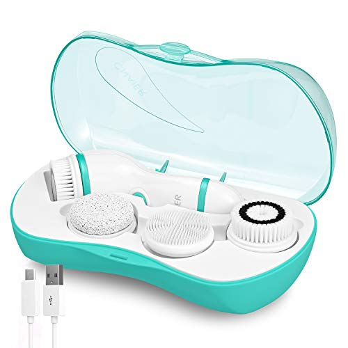 Rechargeable Facial Cleansing Spin Brush Set with 4 Exfoliation Brush Heads - Waterproof Face Spa System by CNAIER - Advanced Microdermabrasion for Deep Scrubbing and Gentle Exfoliating(Green)