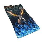 aiteweifuzhuangdian Flamme und Hirsch Mikrofaser-Handtuch, einzigartige Designer entworfen Bedruckte Handtuch,schnell trocknendes Handtuch, Sporthandtuch, benutzerdefinierte
